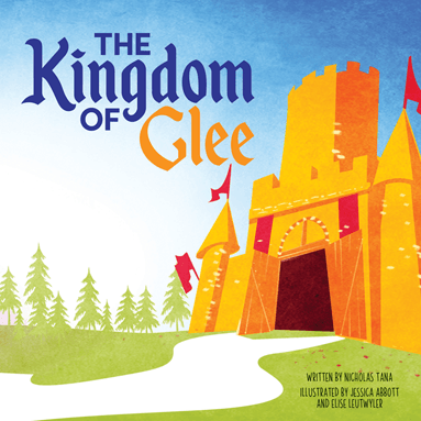 Book Cover: The Kingdom of Glee - A Large golden castle with an open door.